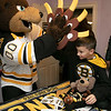 Bob's Discount Furniture partnered with the Boston Bruins and One Mission to donate and deliver new home furnishings to a local Fitchburg family. The youngest of the family Juliet Robichaud, 3, is currently battling Acute Myeloid Leukemia and Bob's wanted to commend her bravery by gifting Juliet her dream bedroom! In addition, the rest of the family got gifts for their rooms from the Bruins. Bruins Alum PJ Stock and mascot Blades were on hand to welcome Juliet home from school and surprise her with her new room on Tuesday, Jan. 7, 2019. Juliet shares a room with her sister Ellie, 7. Their brother Brayden high fives Blades as he goes through the stuff he got from the team. SENTINEL & ENTERPRISE/JOHN LOVE