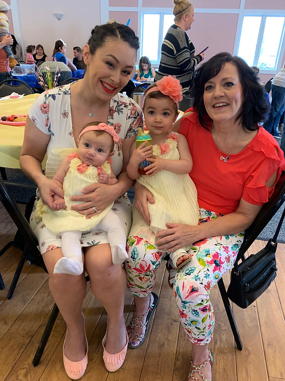 . Amanda Catalano of Lowell with her beautiful little girls, Lilly and Maddy, and her mom, Elks member Lisa Catalano of Derry