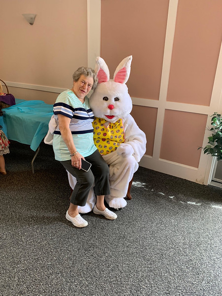Chelmsford Elks Exalted Ruler and Army veteran Kathie Bradley of Shirley proves you're never too old to sit on the Easter Bunny's lap.