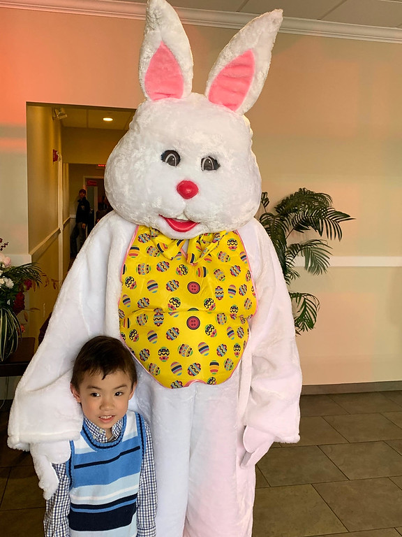 . Anthony Tran of Lowell with the Easter Bunny