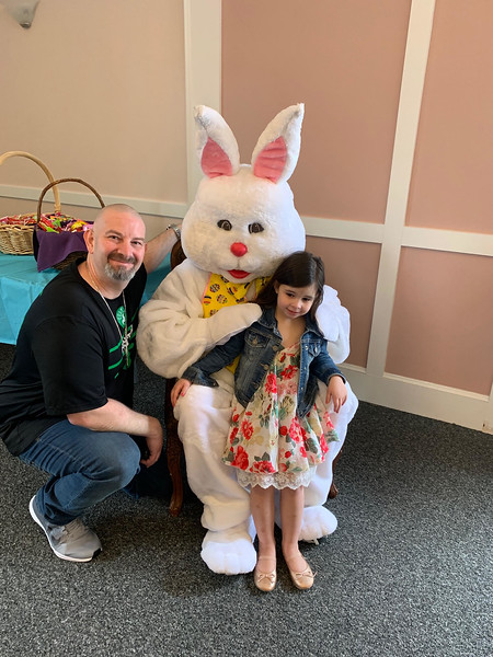 Dennis Gavin of Westford and Cali have a moment with the Bunny.