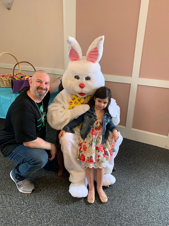 . Dennis Gavin of Westford and Cali have a moment with the Bunny.