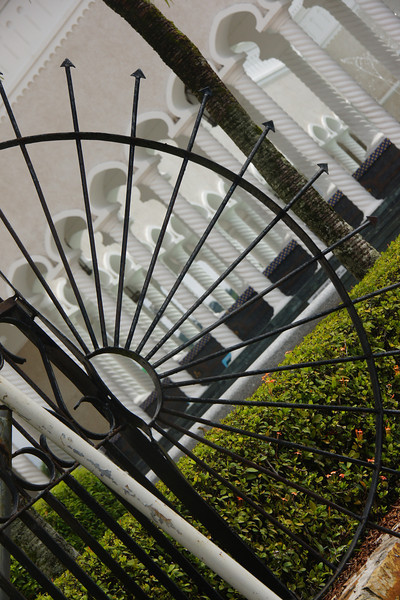 """A photo of a spiked wheel held outside a mosque in Bandar Seri Begawan, Brunei.  Travel photo from Bandar Seri Begawan, Brunei. <a href=""""http://nomadicsamuel.com"""">http://nomadicsamuel.com</a>"""