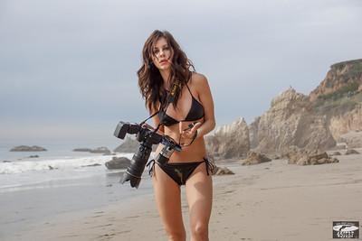 Brunette Swimsuit Bikini Model shooting Stills (Nikon D800) & Video (Sony NEX-6 F/1.8 50mm Prime)