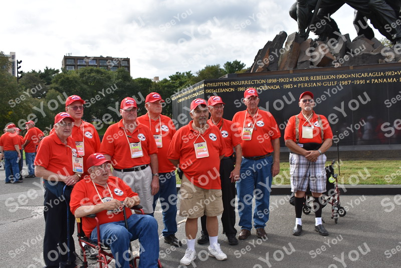 -Messenger photo by Joe Sutter<br /> <br /> Hamilton County veterans at the Marines Corps War Memorial during the Brushy Creek Area Honor Flight Sept. 15, 2018.