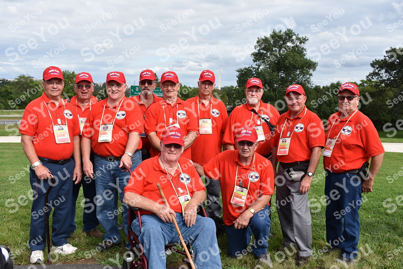 -Messenger photo by Joe Sutter<br /> <br /> Kossuth County veterans at the Marines Corps War Memorial during the Brushy Creek Area Honor Flight Sept. 15, 2018.