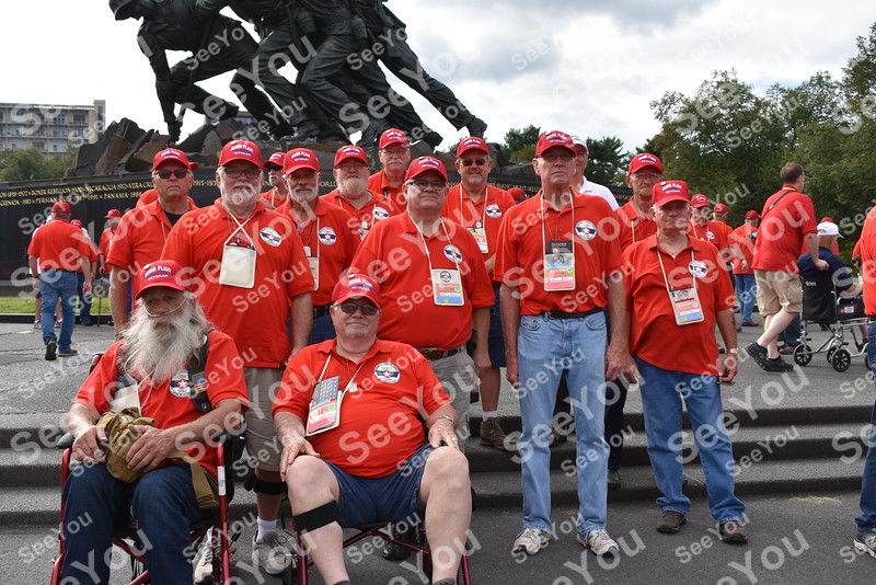 -Messenger photo by Joe Sutter<br /> <br /> Webster County veterans at the Marines Corps War Memorial during the Brushy Creek Area Honor Flight Sept. 15, 2018.