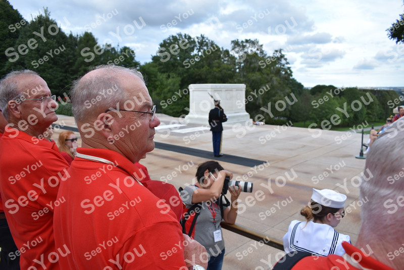 -Messenger photo by Joe Sutter<br /> <br /> Arthur Mogler holds hand and hat over heart as he watches the changing of the guard at the tomb of the unknown soldier.