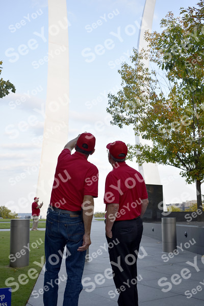 -Messenger photo by Elijah Decious<br /> <br /> Veterans had to crane their necks to take in all of the Air Force Memorial, their last stop of the day before heading home. The three parts arc as high as 270 feet.