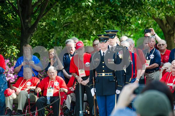 -Messenger photo by Jesse Major<br /> <br /> Iowan veterans and guardians watch as members of the Third U.S. Regiment, perform the Changing of the Guard at the Tomb of the Unknown Soldier in Washington, D.C., Saturday.