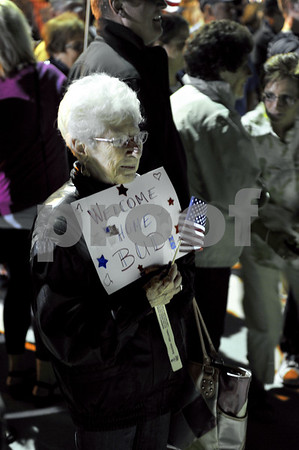 -Messenger photo by Hans Madsen<br /> <br /> Jane VanderWell, of LeMars, waits for her husband, Korean War Navy vet Bud VanderWell to return on the Brushy Creek Area Honor Flight Saturday night at the Fort Dodge Regional Airport.