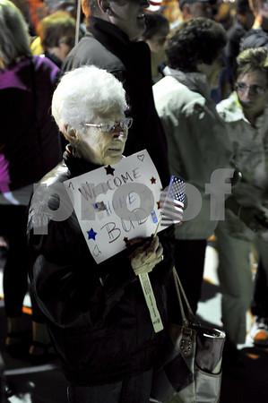 -Messenger photo by Hans Madsen<br /> <br /> Jane VanderWell, of LeMars, waits for her husband, Korean War Navy vet Bud VanderWell to return on the Brushy Creek Area Honor Flight Saturday night at the Fort Dodge Regional Airport.