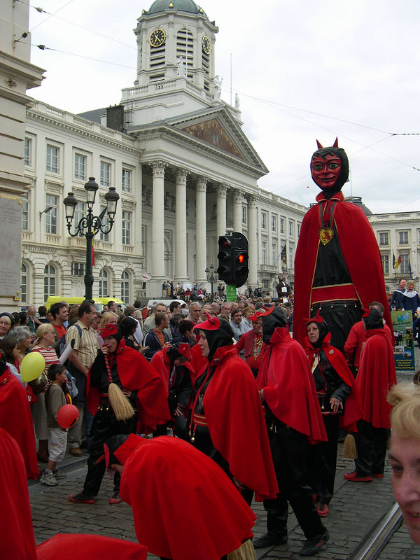 A devil team from a town in Belgium.  Many of the folk festivals have religious roots.
