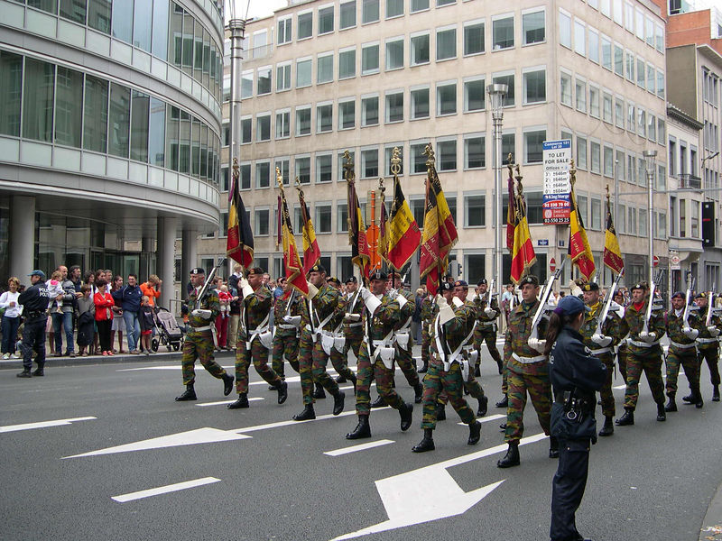 A Belgian army unit in the military parade.