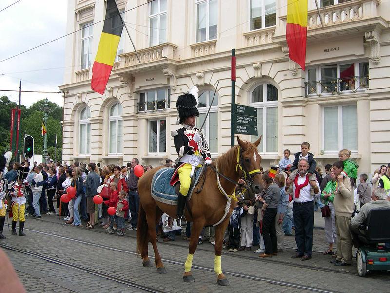 A rider in Napoleonic costume.