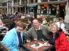 Susan and Dale enjoy a Kriek in the Grand Place, while Cindy has a cup of tea.