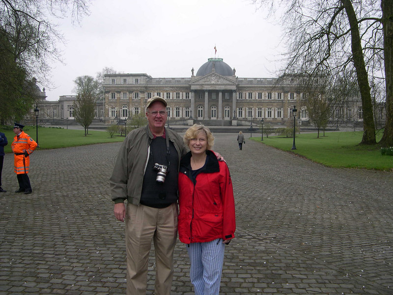 Dale and Cindy Bonga in front of the Royal Palace in Laeken.  We arrived to see the Royal Greenhouses on opening day, along with about 50 tourbus loads of tourists.