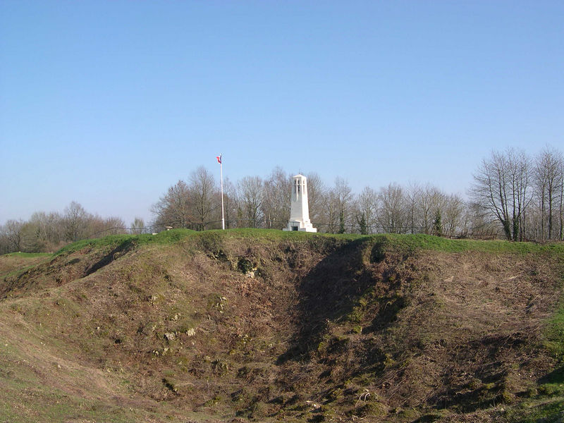 View of the French monument across the line of mine craters.