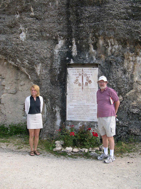 Dan and Doreen outside the entrance to Fort Vaux.  The fort was shelled continuously in May 1916, when thirst finally drove the French defenders to surrender.  After that, the French took roughly 100,000 casualties in order to reclaim the fort later that year.