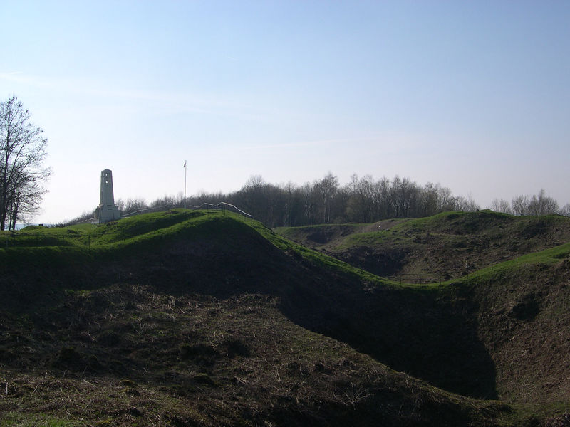 Looking back up from the end of the Butte de Vauquois along the line of mine craters, with the French monument in the background.