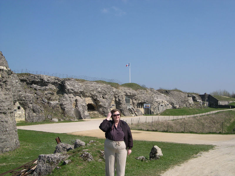 Susan in front of the entrance to Fort Douaumont.