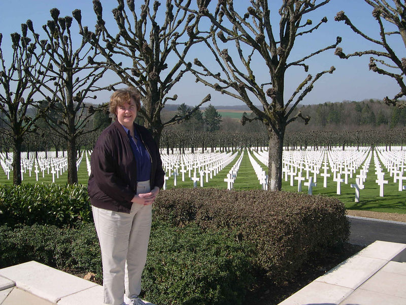 Pictures from Susan and Dick's weekend trip to the same region in April 2005.  Susan is standing at the American military cemetary in Romagne in early spring, before the leaves come out on the trees.