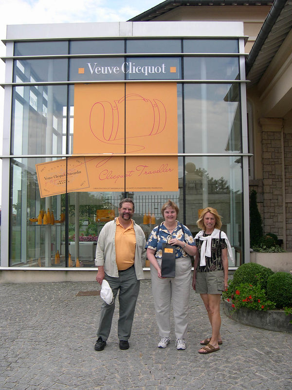 Reims is in the Champagne area of France, and the city is undercut with caves dug in the chalk since Roman times, which is where the champagne is aged.  We arranged a tour of the Veuve Chicquot champagne winery in Reims.  Susan is outside the winery holding a bottle of Grand Dame champagne, a special brand that is available in limited supply.