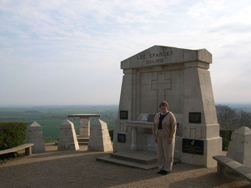 Susan at the lookout of Les Eparges hill on the hills overlooking the Meuse river.  Like the Butte des Vauquois, this hill was occupied by both French and German soldiers early in the war and is pockmarked with mine craters as they tried to blow each other off the hill.