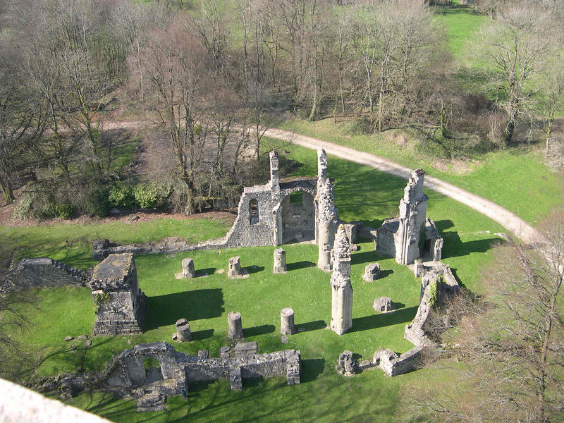 From the top of the Montfaucon monument, looking down on the remains of the medieval church and monestary.