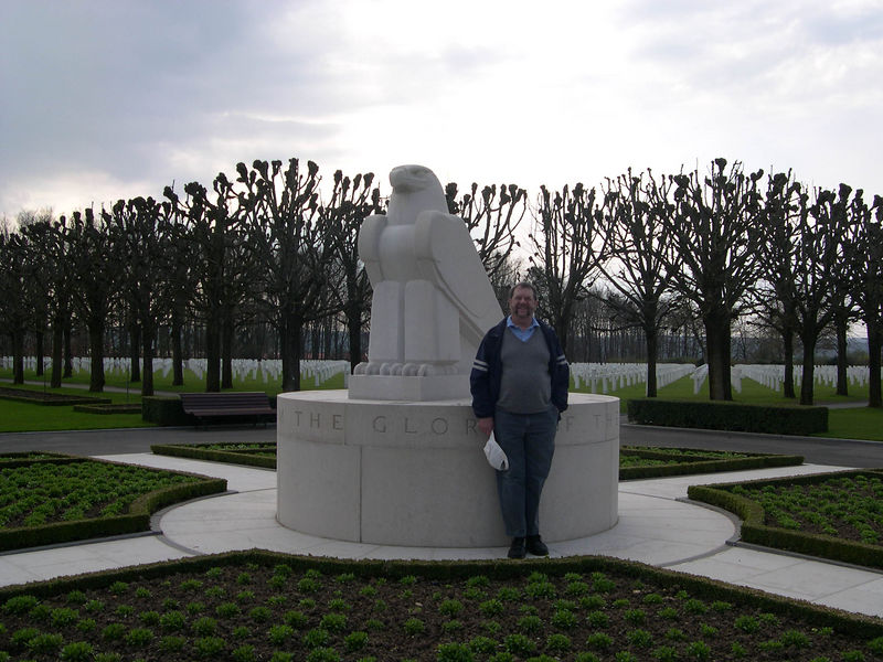 Dick at the American St. Mihiel (Thaucourt) military cemetary.  It contains the bodies of American soldiers killed in the St. Mihiel offensive in September 1918, the first major American attack of the war.  The success here encouraged the Americans for the subsequent attack in the Argonne forest.