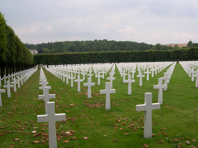 The American military cemetary at Romagne, with lines of perfectly spaced monuments.