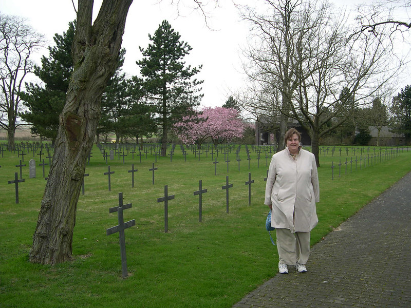 Susan at the German cemetary.  Spring was almost a month late in Europe this year, and we were glad to see some trees finally starting to flower.