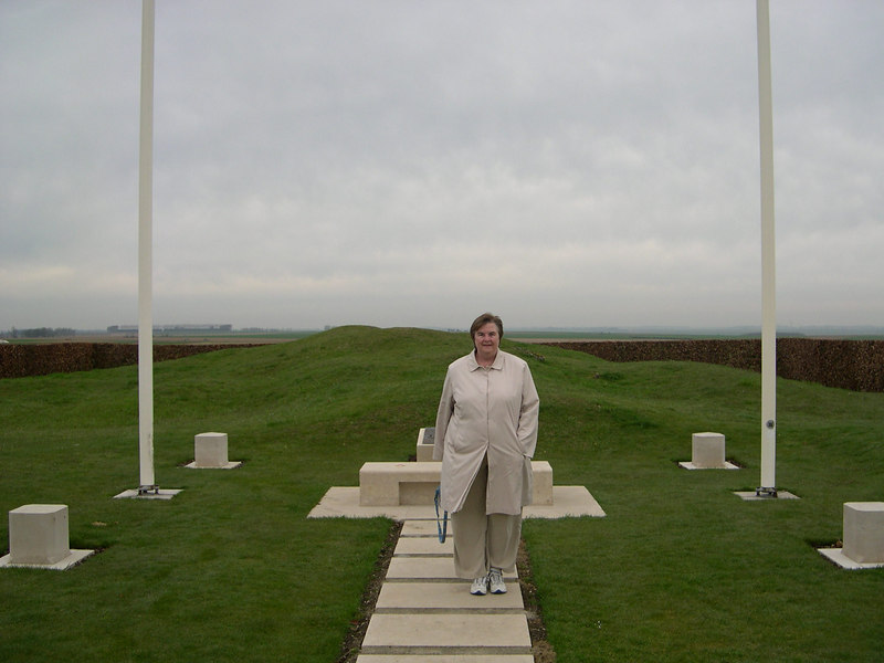 Susan at the high point of Pozieres Mill windmill, opposite the Tank Corps Memorial.  The ruins of the windmill (visible for miles on the battlefield) are in back of Susan.  This is now a memorial to the Australian troops fighting on the Somme.