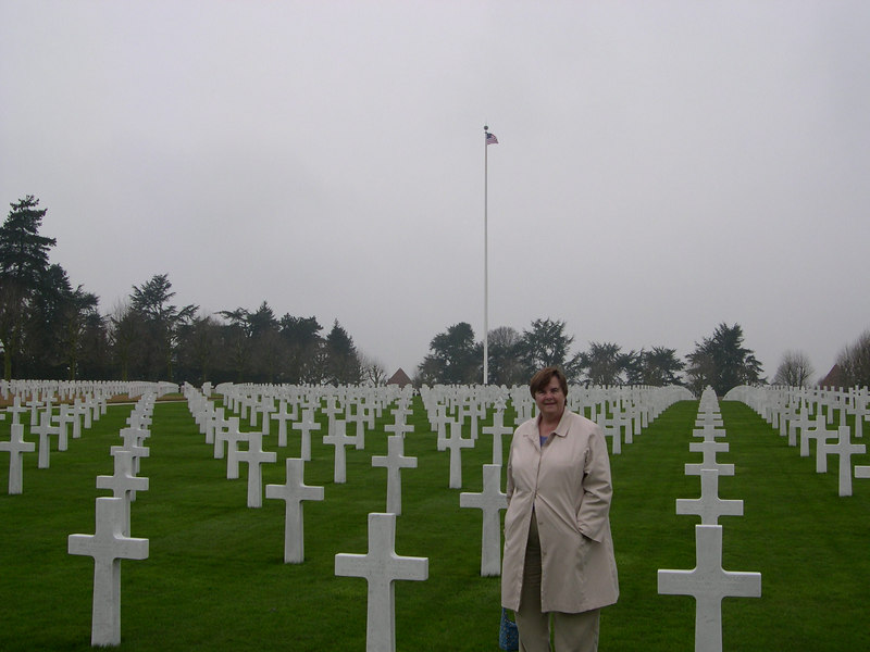 Susan at the American Cemetarty at Bony.