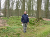 Dick in front of one of the original trenches in Delville Woods.  The trees are all second growth.  Only one tree remains alive from the original battle.