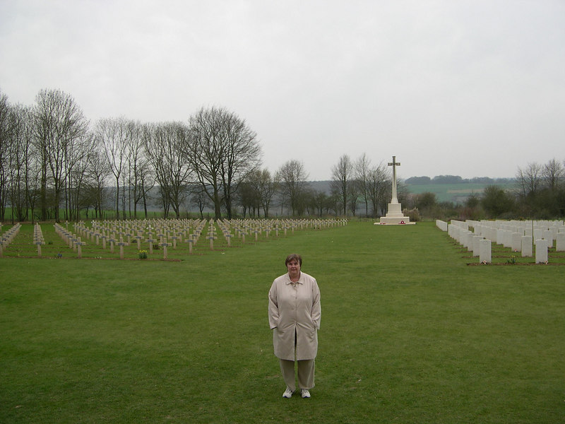 Susan at the British (right hand) and French (left hand) cemetary at Thiepval, looking toward the line of British attack on July 1, 1916.