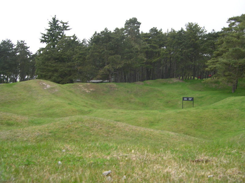 A view across the line of mine craters separating the Canadian and German positions at Vimy Ridge.  Both sides engaged in extensive tunneling and mining, and there is a continuous line of craters between the two sides.