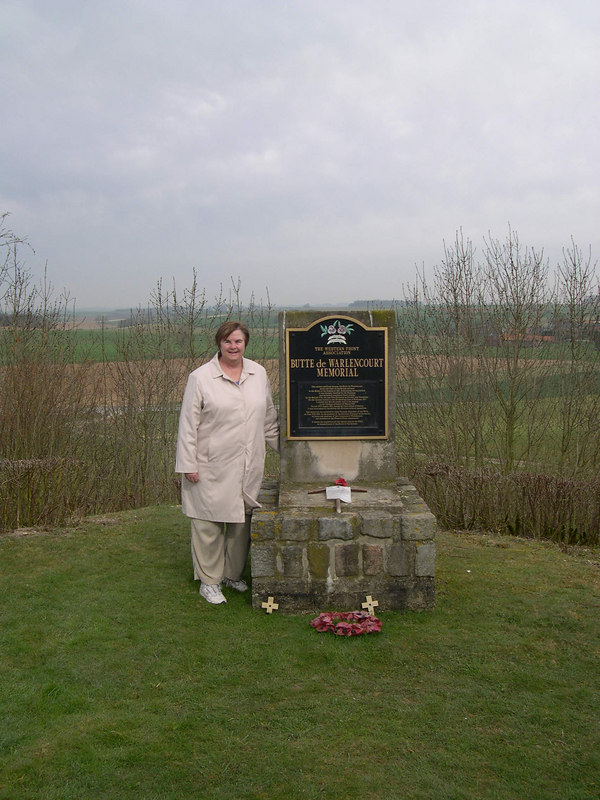 On to the battlefield of the Somme on the next day.  Susan is standing on top of the Butte de Warlendcourt, which marks the furthest point of advance for the British troops in 1916.  After five months and 400,000 casulties, the British succeeded in advancing 6.5 miles to this site, with a similar number of German casulties.