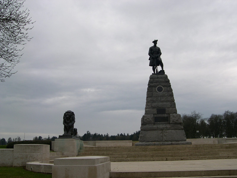 Statue of a kilted Highlander of the 51st. Highland Division at Beaumont Hamel on the Somme.  After the failed attack on July 1, the British were not able to take this area until November.