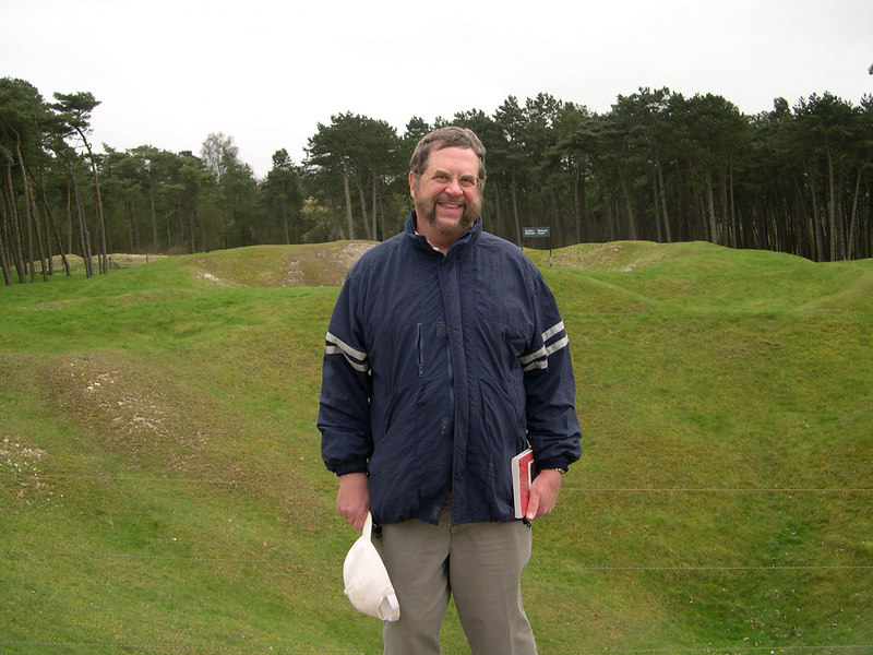 Dick in front of some of the mine craters at Vimy Ridge.