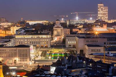 Vue de la flèche de l'hotel de ville de Bruxelles