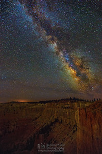 """Star Castle,"" The Milky Way over Bryce Amphitheate, Wall of Windows, and Liberty Castle, Bryce Canyon National Park"