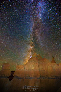 """The Queen's Towers,"" the Milky Way over the Queen's Garden, Bryce Canyon National Park"