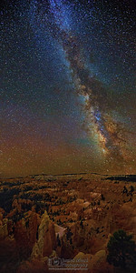 """Silent Kingdom,"" The Milky Way over the Queen's Castle, Queen's Garden, the Silent City and the Bryce Amphitheater, Bryce Canyon National Park, Utah"