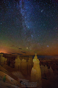 """Thor's Night,"" The Milky Way over Thor's Hammer,the Temple of Osiris and the Three Sisters, Bryce Canyon National Park"