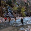 Workshop photographers hike the Zion Narrows.