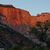First sunlight on the West Temple, Zion.
