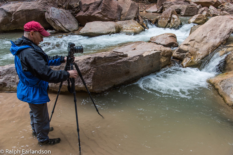 Peter sets up a photo in the Zion Narrows.