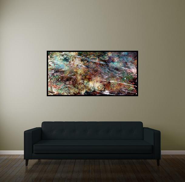 "Surreal 48""x24"" Black Aluminum Artbox Frame with Matte Acrylic Glass"