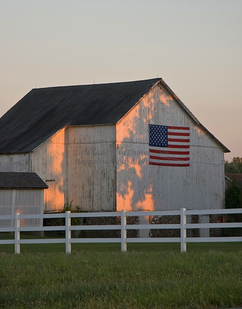 Flag Barn at Dusk, Bucks County, PA